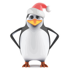 Vector 3d Santa penguin with hands on hips