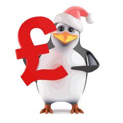 Vector 3d Santa penguin holding a UK Pounds symbol