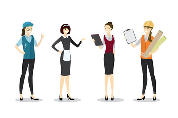 Set of Labor female people in uniform,worker character,