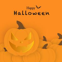 Halloween pumpkin on the orange background