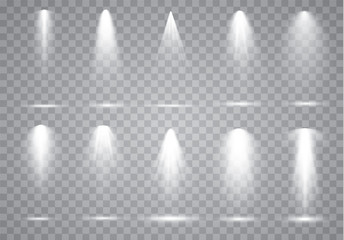 Wall Mural - Scene illumination collection, transparent effects. Bright lighting with spotlights.