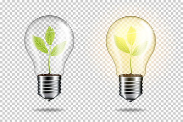 Wall Mural - Light bulb with sprout inside plant, isolated.