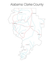 Detailed map of Clarke county in Alabama, USA