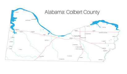 Detailed map of Colbert county in Alabama, USA
