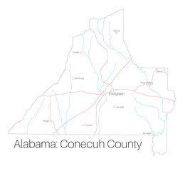 Detailed map of Conecuh county in Alabama, USA