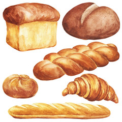 Hand drawn watercolor bread set, isolated on white background. Delicious bakery food illustration.