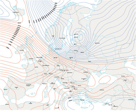 imaginary meteorological vector weather map of europe