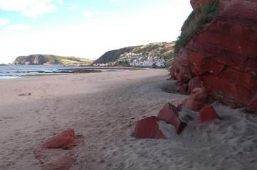 Red Sandstone on beach in Gardenstown, Scotland