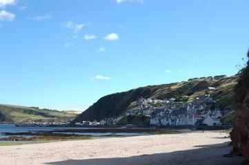 Beach at Gardenstown, Aberdeenshire in Scotland.