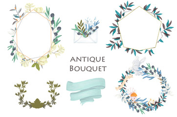 Olive bouquet Watercolor effect floral illustration with olive branches wreath circle shape and ribbon on white background