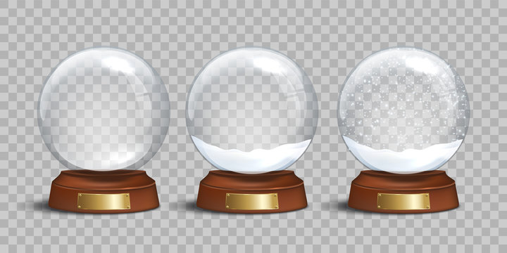 Empty glass snow globe and snow globes with snow on transparent background. Vector Christmas and New Year design elements. Snow globe templates.