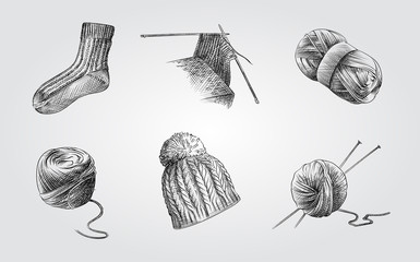 Hand Drawn Knitting Sketches Set. Collection Of knitting wool, knitting needles, wool sock and hat. Knitting elements Sketches isolated on white background.