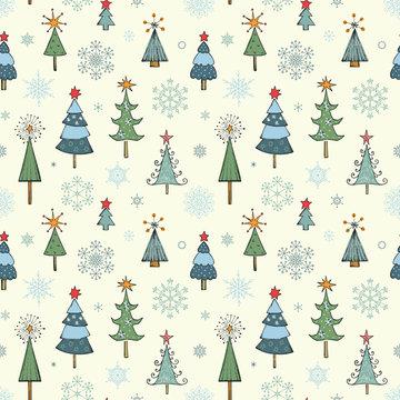 Christmas tree seamless pattern.