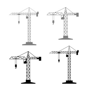 Tower crane vector icons on white background