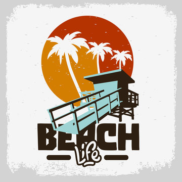 Beach Life Lifeguard Tower Station Beach Rescue Palm Trees Logo Sign Label Design For Promotion Ads t shirts Sticker Poster Flyer Vector Graphic
