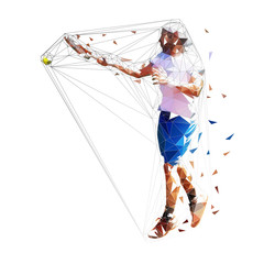 Tennis player, isolated low polygonal vector illustration. Forehand shot. Individual sport