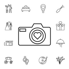 camera with heart icon. Detailed set of wedding icons. Premium quality graphic design icon. One of the collection icons for websites, web design, mobile app