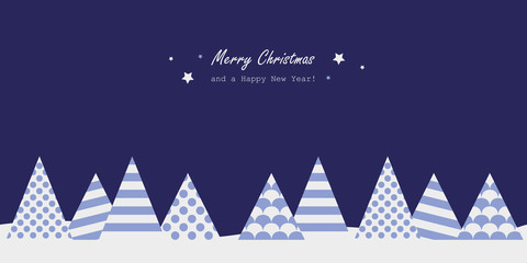 merry christmas blue greeting card with abstract firs