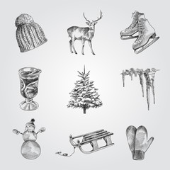 Hand Drawn Winter holiday Sketches Set. Collection Of Deer, 