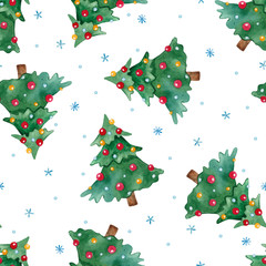 New Year seamless pattern with Christmas tree and snowflakes.