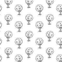 Handdrawn tree pattern doodle icon. Hand drawn black sketch. Sign symbol. Decoration element. White background. Isolated. Flat design. Vector illustration