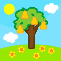 Cartoon summer landscape with pear tree with ripe fruits, blue sky, white clouds and yellow sun
