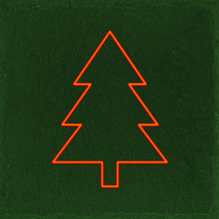 Christmas, green slate stone background with red christmas tree frame