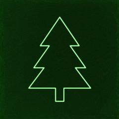 green christmas tree on green slate background, green outline