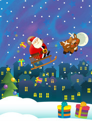 Christmas happy scene with different animals santa claus flying with reindeers delivering presents - illustration for children