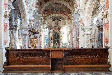 Old church architecture interiors and wooden bench