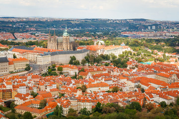 Aerial view of Prague Castle, Czech Republic from Petrin Hill Observation Tower.