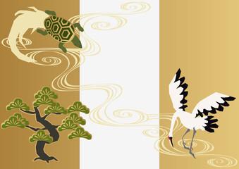 和柄の素材。鶴と亀と松のデザイン素材。のし袋。