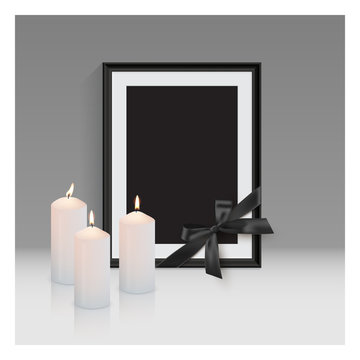 Black mourning frame with black ribbon and burning candles isolated on gray background. Vector design element.