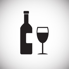 Wine bottle with glass on white background icon