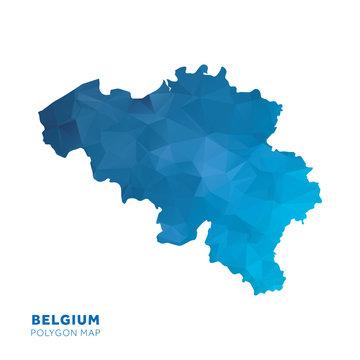 Map of Belgium. Blue geometric polygon map.