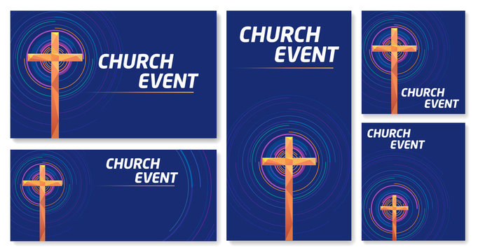Vector set of blank banner Cross Church event Colorful abstract circles blue background
