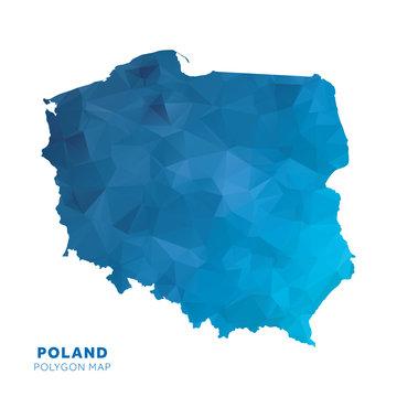 Map of Poland. Blue geometric polygon map.