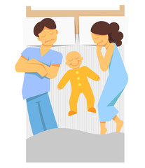 A vector color image of a mother and father sleeping with a baby on a bed.
