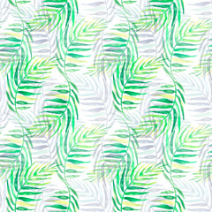 Tuinposter Tropische Bladeren Seamless watercolor background from green tropical leaves, palm leaf, floral pattern. Bright Rapport for Paper, Textile, Wallpaper, design. Tropical leaves watercolor.