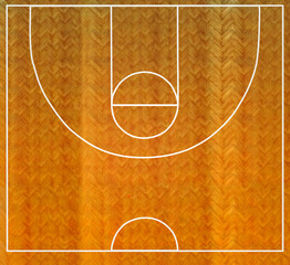 Basketball court top view with wooden floor with herringbone pattern