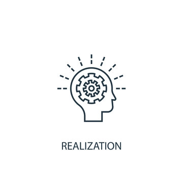 realization concept line icon. Simple element illustration. realization  concept outline symbol design. Can be used for web and mobile UI/UX