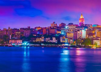 Galata Tower, Galata Bridge, Karakoy district and Golden Horn at night, istanbul - Turkey