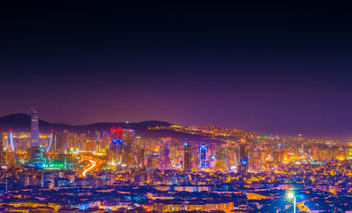 Stunning night view of Istanbul city lights and Bosphorus bridge