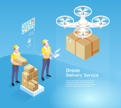 Drone delivery service technology. Vector illustrations.