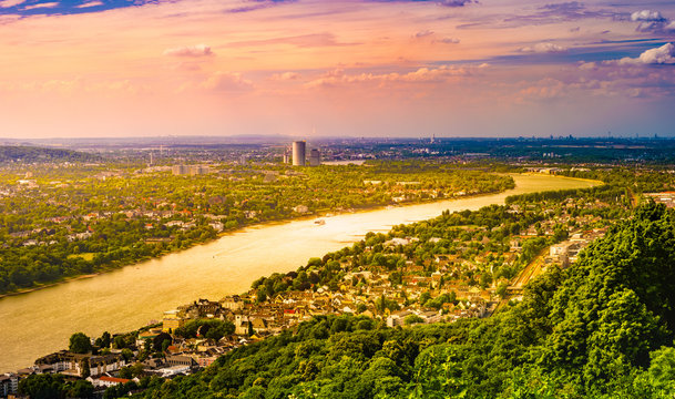 Panorama view from the Drachenburg hill, Drachenfelsen to the river Rhine and the Rhineland, Bonn, Germany, Europe