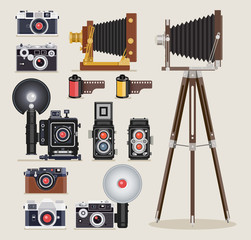 Antique camera flat icons. Vector illustration.
