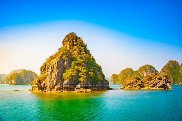 Vietnam Halong Bay beautiful sunset landscape background