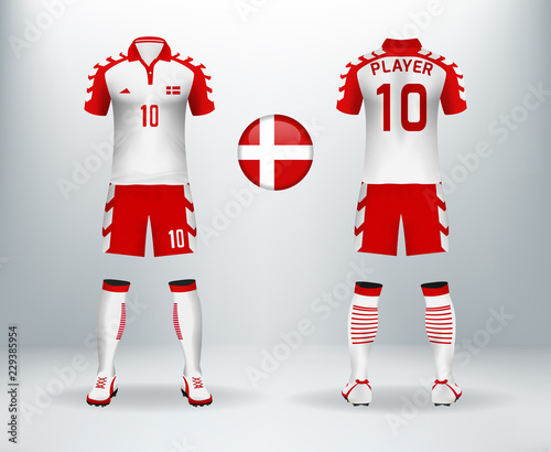 best service 35448 5447d 3D realistic of font and back of denmark soccer jersey shirt ...