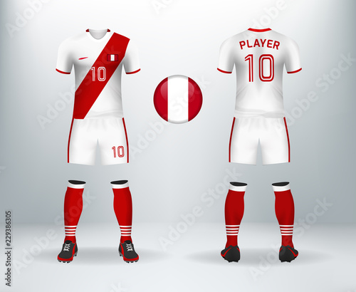 3D realistic of font and back of Peru soccer jersey shirt with pants