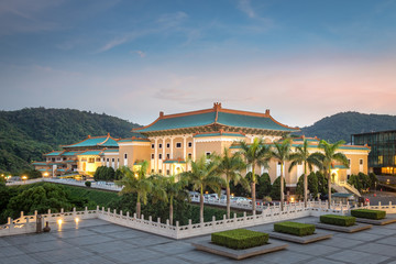 The National Palace Museum at night in Taipei City.